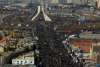 Aerial photos show crowds of people during a Tehran parade on February 11, 2018
